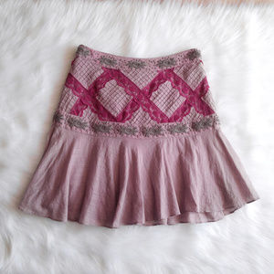 FREE PEOPLE Embroidered Lace Skirt Mini